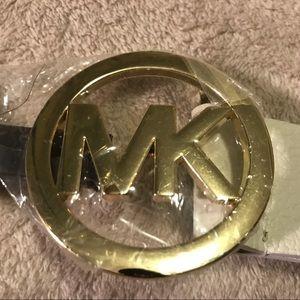 BNWT Michael Kors Leather Ivory Brass MK MSRP $55